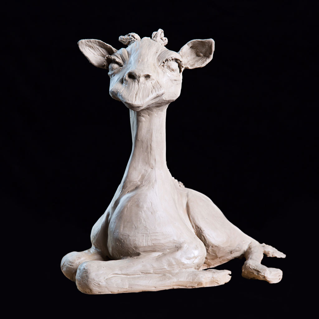 STRETCH – Baby Giraffe – Bronze Sculpture. ; 